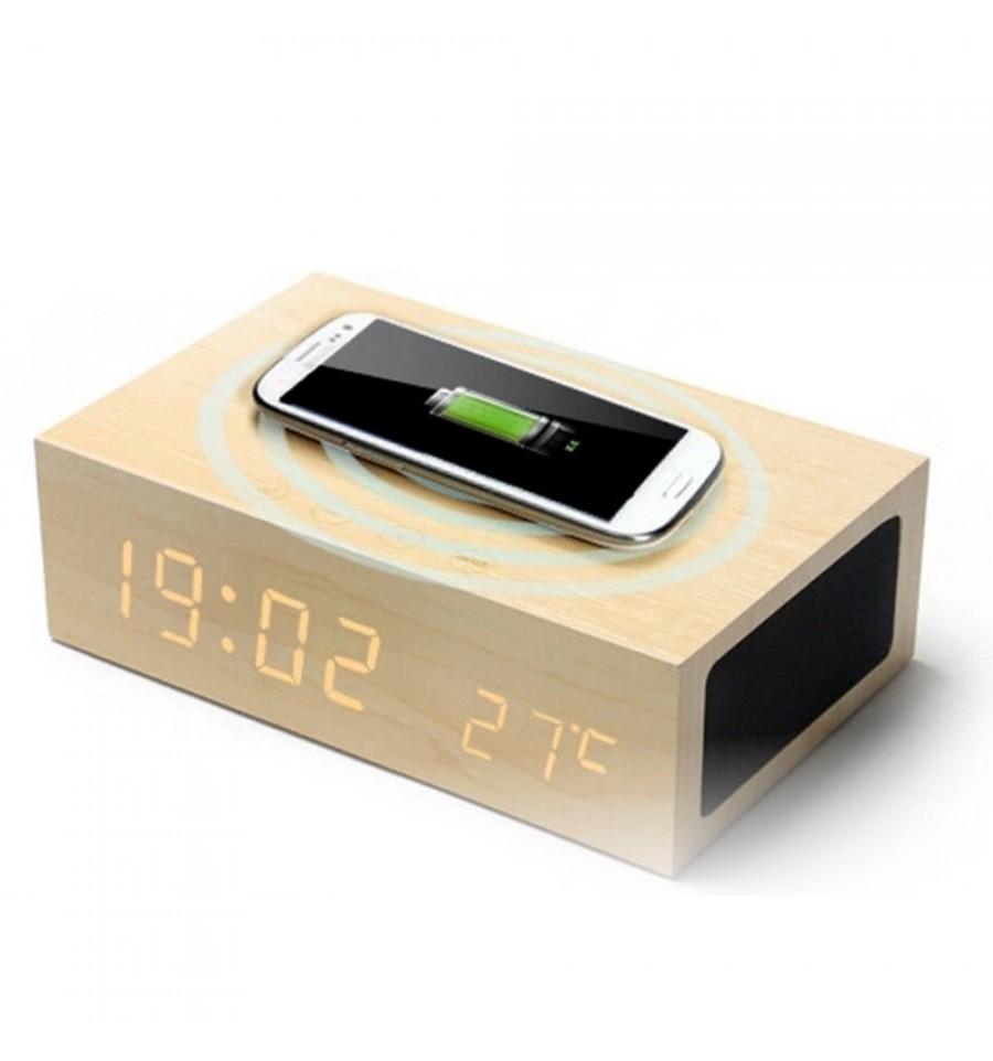 magiq clock r veil bluetooth chargeur induction en bois. Black Bedroom Furniture Sets. Home Design Ideas